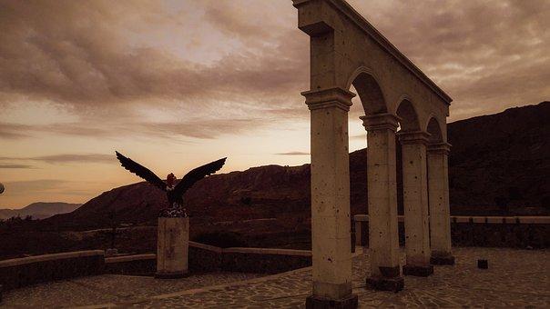 Sunset, Building, Arches, Condor, Bird, Statue