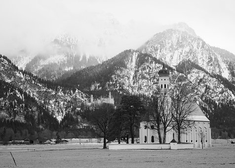 Castle, Building, Mountains, Forest, Trees, Wintry