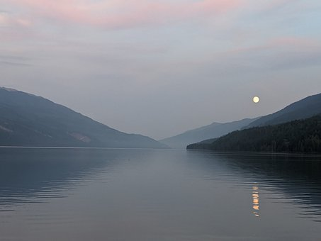 Lake, Mountains, Trees, Evening, Moon, Water
