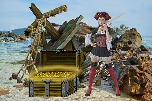 Pirate, Treasure, Woman, Chest, Gold, Adventure, Ship