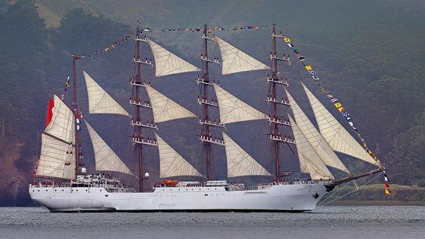 Ship, Sail, Sea, Ocean, Forest, Coast, Bap Union