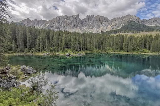 Dolomites, Lake, Mountains, Landscape, Nature
