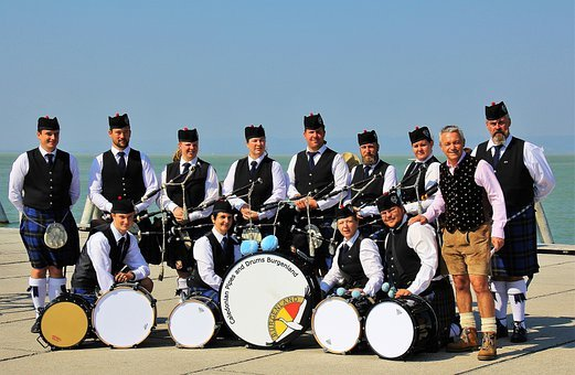 Group Of People, Musicians, Drums, Bagpipes