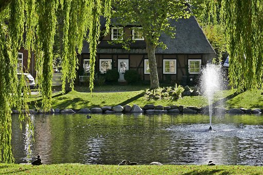 Pond, House, Water Fountain, Fehmarn, Idyll, Rural
