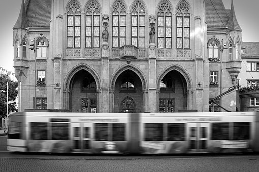 Tram, Black And White, City, Motion Blur