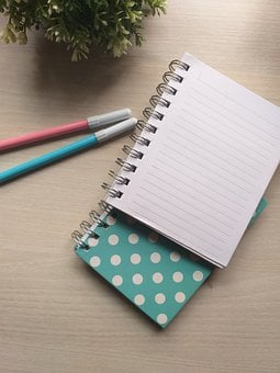 Notebook, Pens, Desk, Office, Write, Stationary