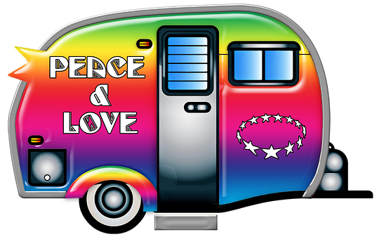 Retro Travel Trailer, 1960s, Hippie, Trailer