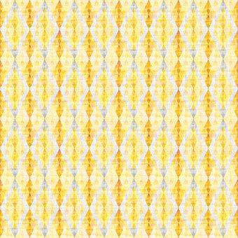 Rhomboid, Rhombus, Checkered, Mosaic, Diamond, Yellow