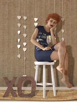 Woman, Stool, Sit, Sitting, Short Hair, Model, Hearts