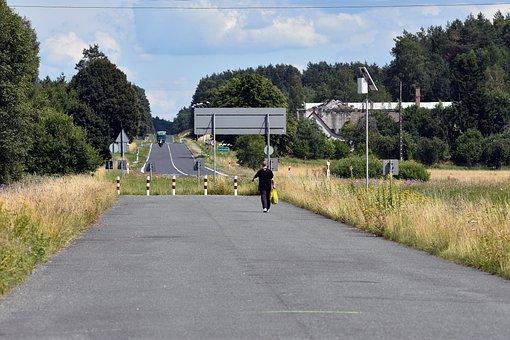 Asphalt, Green, Long, Street, Path, Walking