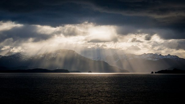 Sea, Clouds, Mountains, Alaska, Sun, Rays, Mood