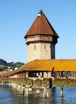 Water Tower, Wooden Bridge, Alfalfa, Switzerland, Tower