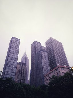 Cloudy Day, Skyscrapers, City, Building