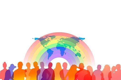 Diversity, Personal, Silhouettes, Rainbow, Continents