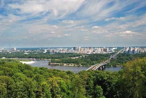 Riverside, Horizon, Bridge, River, Sky, City, Kyiv