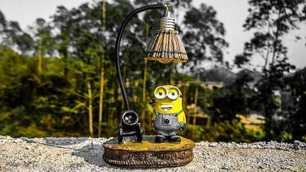 Minion, Character, Lamp, Lightbulb, Cartoon, Fence