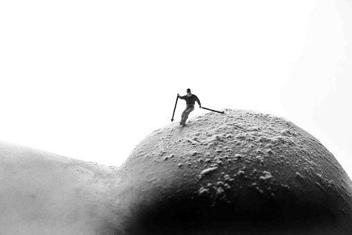 Body, Skiing, Mountain, Snow, Nude, Model, Skin, Person