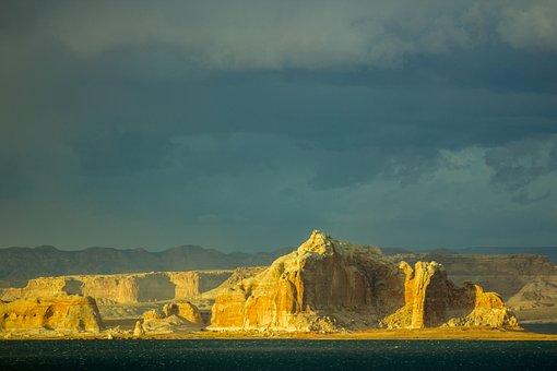 Lake Powell, Rock, Lake, Storm, Water, Landscape, Stone