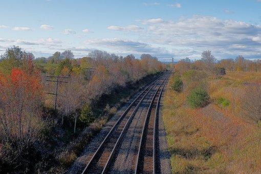 Train, Tracks, Fall, Autum, Sky, Peaceful, Relaxing