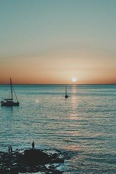 Beach, Boats, Sail Boats, Ocean, Sea, Sunset, Waves