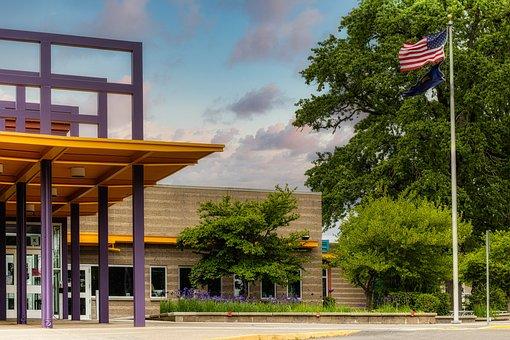 School, Building, Entrance, Trees, Grass, American Flag