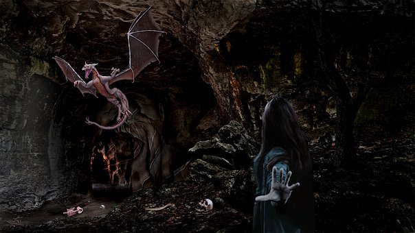 Fantasy, Dragon, Woman, Female, Cave, Creature, Beast