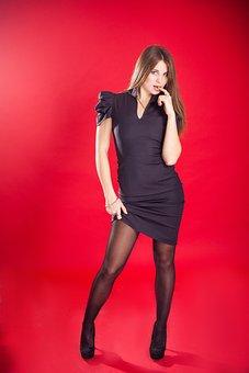 Woman, Model, Dress, Hair, Tights, Legs, Glamour
