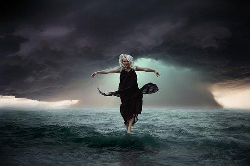 Woman, Ocean, Waves, Sea, Storm, Clouds, Rain, Water