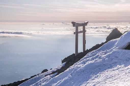 Mountain, Glacier, Sky, Clouds, Land, Tori, Fuji-san