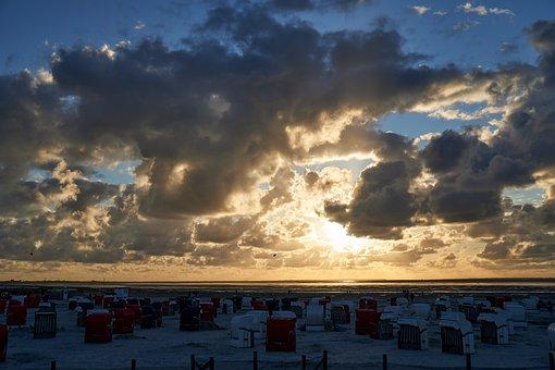 Sunset, Sea, Coast, Beach Chair, Sand, Sky, Clouds