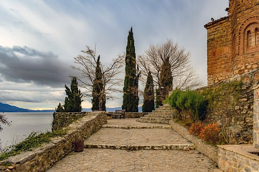 Church, Stairs, Building, Entrance, Lake