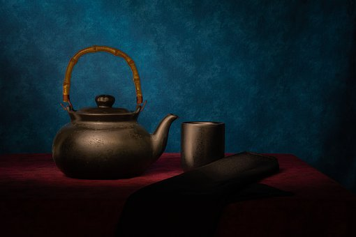 Tea, Pots, Cut, Table, Still-life, Fine Art