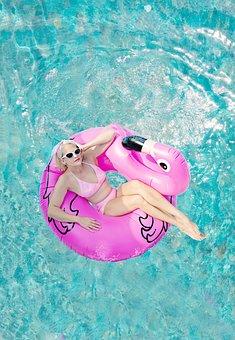 Woman, Pool, Floaty, Flamingo Floaty, Summer