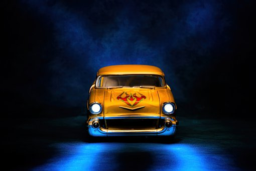 Car, Vehicle, Toy, Yellow, Lights, Wheels, Fine Art
