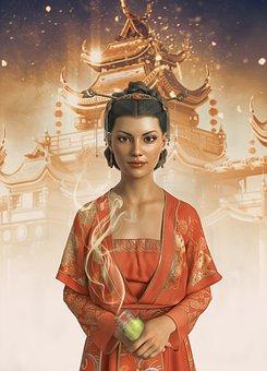 Woman, Girl, Young, Make Up, Kimono, Temple, Smoke