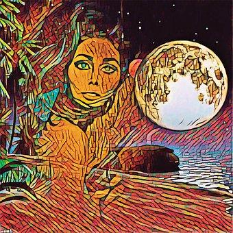 Woman, Moon, Moonlight, Fantasy, Night, Mystic