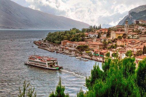 Lake, Lake Garda, Italy, Lombardy, Boat, Ferry, Boats