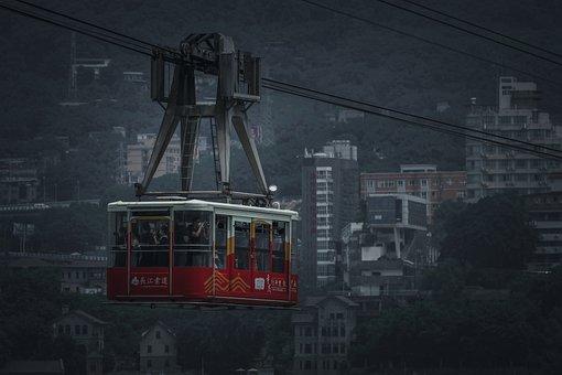 Cable Car, City, Buildings, Transport, Chongqing