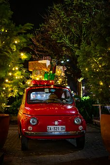 Car, Christmas, Red Ribbon, Presents, Gifts, Old Car