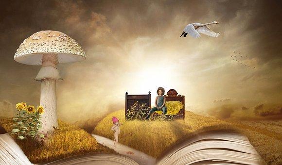 Fantasy, Book, Cornfield, Composing, Grain Bed