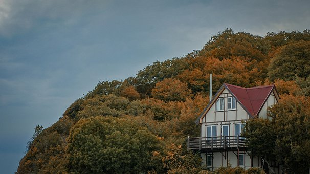 House, Cottage, Forest, Mountains, Sky, Autumn