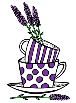 Lavender, Cup, Mug, Teacup, Flowers, Purple, Polka Dots