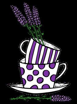 Lavender, Cup, Mug, Teacup, Flowers, Purple, Polka Dots