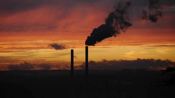 Sunset, Smoke, Power Plant, Sky, Current, Environment
