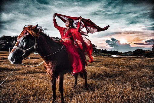 Horse, Girl, Woman, Traditional Costume, Vietnam
