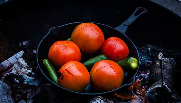 Tomatoes, Jalapeno, Cast Iron, Grill, Charcoal, Hot