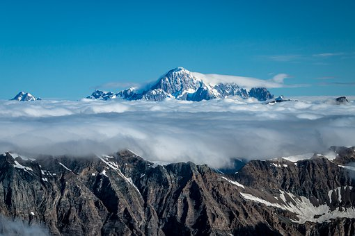 Mont Blanc, Western Levanna, Mountains, Alps, Clouds