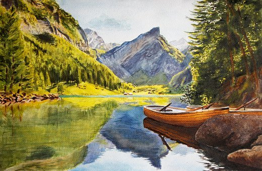 Painting, Paint, Watercolor, Mountains, Lake