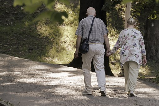 Couple, Old People, Walking, Alley, Park, Nature, Trees