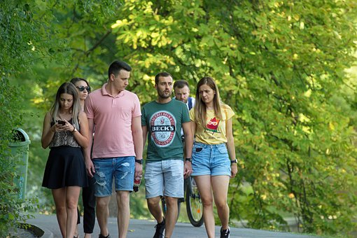 People, Young, Crowd, Group, Walking, Alley, Park